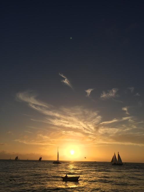 Stau beim Sonnenuntergang.